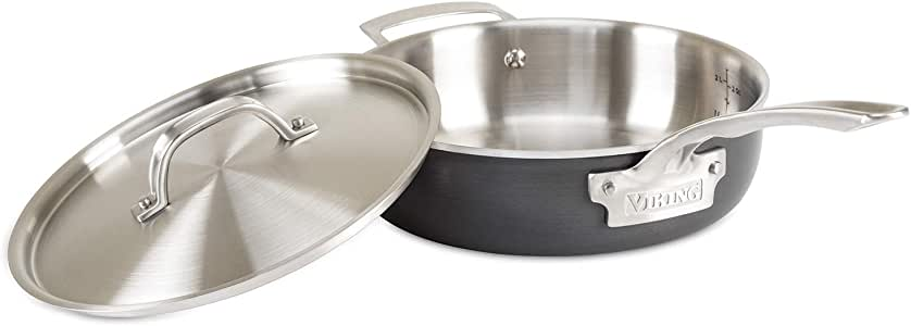 Viking Culinary 5-Ply Hard Stainless Sauté Pan with Hard Anodized Exterior, 3 Quart