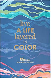 Erin Condren Layers 贴纸书 - 12 张贴纸(共 529 张贴纸) - 彩色层设计主题,对开尺寸 12.7 厘米 x 19.7 厘米 - 纸胶带,金属系列,语录
