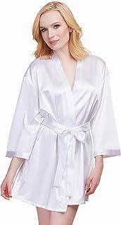 Dreamgirl 女式缎面化妆舞会新娘长袍,带可调节前系带开合