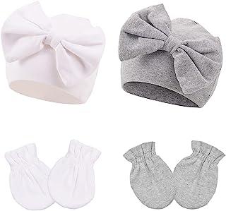 带兔耳朵蝴蝶结的女宝宝帽子幼儿柔软多样编织帽