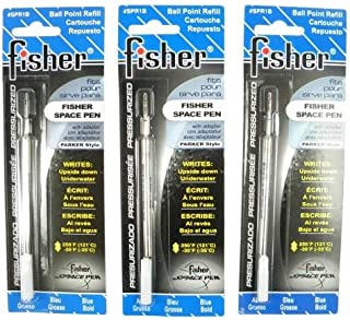 Fisher 太空笔 - 3 个加压墨盒,蓝色墨水粗笔尖 #SPR1B