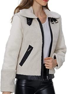 Bellivera 女式仿羊毛毛绒人造毛皮夹克 麂皮绒外套翻领皮革搭扣