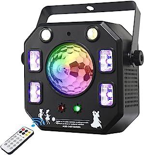 迪斯科灯光 DJ 灯,4 合 1 舞台灯,带魔术球的 LED Par 灯光图案频闪灯带紫外线效果,遥控和 DMX 控制,适用于舞台和 DJ 照明