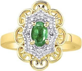 RYLOS 花卉图案戒指 椭圆形宝石和纯正闪亮钻石 14K 黄金镀银 .925-6X4MM 彩色石头诞生石戒指 Green Emerald May