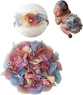 新生儿摄影道具套装手工针织头饰花卉圆形布饰女孩装饰