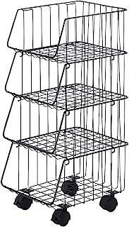 下村企售 厨房堆叠篮 4层 黑色 25.5×31.5×64.5cm 日本制 37292