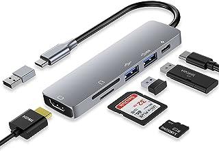 USB C HUB,6 合 1 USB C 笔记本电脑扩展坞双显示器,带 4K HDMI,2 个 USB 3.0,SD/Micro SD 读卡器,87W PD 充电和 USB C 转适配器,兼容 MacBook Pro,Surface 等(灰色)