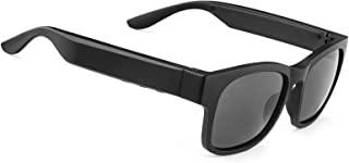 GELETE 智能眼镜无线蓝牙太阳镜开放式耳朵音乐和免提通话,适用于男士和女士,偏光镜,IPX4 防水,连接手机和平板电脑(A12Pro-黑色)
