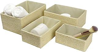 LA Jolie Muse 储物篮套装 4 - 可堆叠编织篮纸绳箱,储物盒适用于化妆衣柜浴室卧室(奶油色)