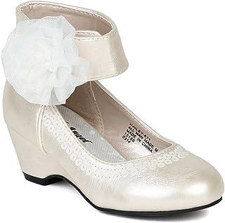 人造革雪纺蝴蝶结踝袖儿童坡跟凉鞋(幼儿/小女孩/大女孩)BA62 - 象牙色