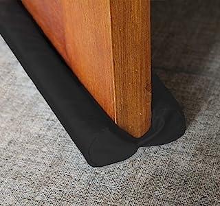 Sewens 双门挡板防风防雨噪音阻挡窗口微风挡板可调节门扫地 38 英寸(约 96.5 厘米)黑色