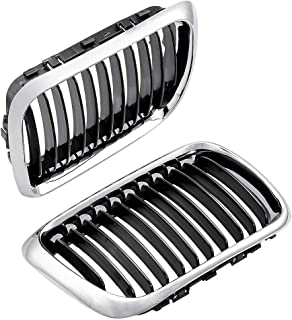 AMOPA 1 对前引擎盖肾烤架格栅兼容 3 系列 E36 1997-1999 328i 323is 318i(黑银色)
