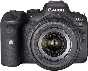 Canon 佳能 EOS R6 全画幅系统相机 - 带镜头 RF 24-105 毫米 F4-7.1 IS STM (防反光,20.1 MP,4K UHD,5 轴图像稳定器,7.5 厘米(3.0 英寸)LCD II,WLAN,USB 3.1)黑色