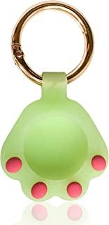 ZealthBeau 可爱猫爪硅胶气标签夹带钥匙圈,专为 Apple airtag 2021 外壳钥匙扣设计,防水 iPhone 空气标签盖(* - 夜光)