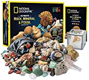 National Geographic 国家地理 Break Open 10 优质地理模型 - 包括护目镜、详细的学习指南和陈列架 - 适合任何年龄段的矿物和地质爱好者的科学礼物 Rock Fossil Kit