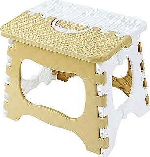 Fusiontec 加厚塑料折叠凳,带手柄,便携式户外小卡通长凳,23.9 厘米,*大 113.4 千克(灰色)