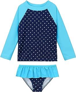 Azue 女孩两件套泳装女婴*服套装长袖分体泳衣,UPF 50+ 幼儿泳衣泳装 2-8T