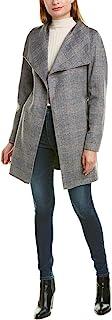 Tahari Ells 束带双面羊毛混纺裹身外套,麻灰色