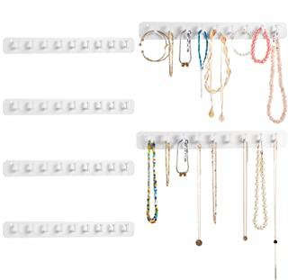 6 件亚克力项链支架套装壁挂式项链衣架珠宝收纳盒悬挂有 9 个挂钩,女孩女士项链首饰挂钩,手链(白色)