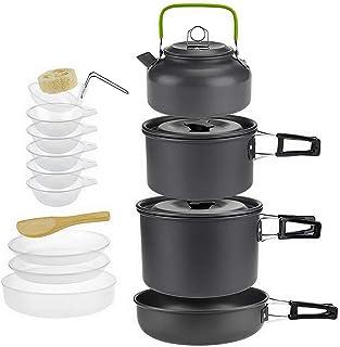 Jucoan 15 件便携式野营炊具套装户外烹饪装备 带可折叠铝不粘锅锅锅 水壶套装,塑料碗盘勺子适用于 3-5 人徒步背包家庭野餐