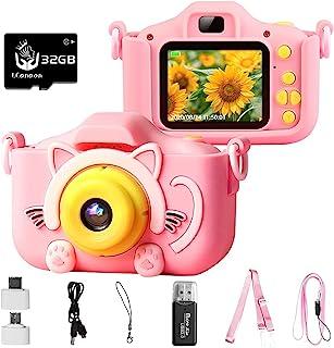 QUEBAN 儿童相机数码防水盖圣诞生日礼物,适合 3-9 岁男孩,高清数码摄像机,适合幼儿,便携式玩具,适合 3 4 5 6 7 8 岁男孩,带 32GB SD 卡