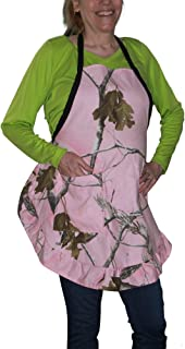 Realtree 粉色迷彩女主人围裙,OSFM S-2XL,经典,坚固的斜纹,荷叶边,美国制造