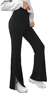 WDIRARA 女式弹性高腰开叉下摆喇叭腿优雅长裤