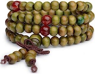 Origin 暹罗手工串珠玛拉缠绕手链 | 藏式 108 祈祷咒语 天然木珠 | 弹性项链腕带 | 幸运、爱、冥想、保护 | 男女通用