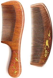 Sitronugras 手工木制梳子套装 – 梳子细齿 天然檀木梳子带手柄适合女性* 防静电月亮形状梳子,适合直发波浪干粗或细发。