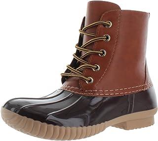 AXNY Dylan 女士系带双色战斗风格小牛皮雨鸭靴