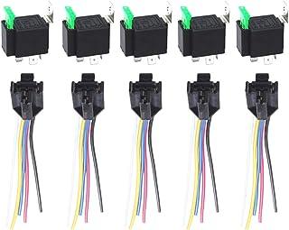 ESUPPORT 12V 30A 汽车电机 14AWG 重型继电器插座插头 5针保险丝开关开/关 SPDT线束金属 5 件
