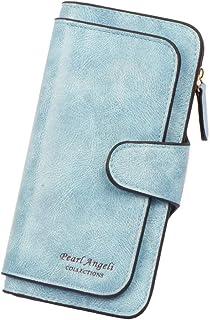 Pearl Angeli RFID 屏蔽钱包女式双折长款女士信用卡包皮革钱包手拿包多卡包