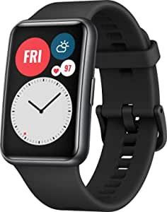 Huawei 华为 WATCH FIT 智能手表,1.64英寸AMOLED显示屏,快速切屏,10天续航时间,96种训练模式,GPS,5ATM,SpO2传感器,心率测量,石墨黑