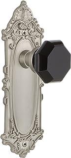 怀旧仓库 721315 维多利亚时代板通道 Waldorf 黑色门把手,缎面镍,2.75