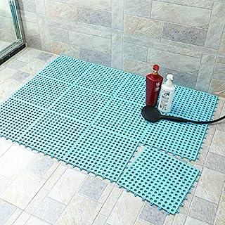橡胶地板天蓝色 10 件联锁柔软 PVC 防滑瓷砖拼接防水垫浴室淋浴厕所地板瓷砖 29.8 厘米 x 29.8 厘米垫薄型(天蓝色)