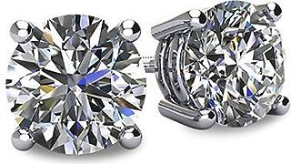 NANA 14K 金 POST & 标准纯银4爪施华洛世奇纯 brilliance 锆石耳钉 CZ 1.0克拉至8.0CTW