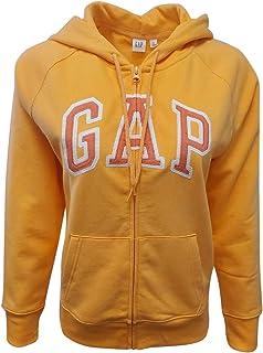 GAP 女式羊毛拱形标志全拉链连帽衫(XL 码,亮橙色(粉色标志))