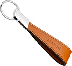 Maruse 意大利皮革钥匙扣男女适用,带扁平抛光金属钥匙环,意大利手工制作