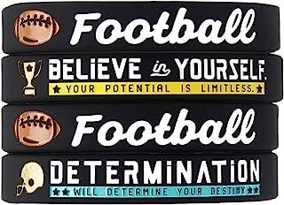 (4 件装)足球硅胶手链 励志运动引言 - 4 件套鼓舞人心的硅橡胶腕带 - 男女皆宜的足球礼物首饰配饰适合男孩女孩男士女士