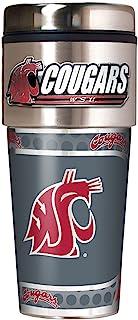 Great American Products NCAA 华盛顿州美洲狮队金属平底玻璃杯,均码,黑色