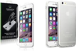 TERRAPIN TPU 凝胶手机壳/盖和钢化玻璃屏幕保护膜适用于 Apple iPhone 6/6S - 水晶透明