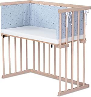 dreamgood 婴儿床 天然山毛榉材质 | 床垫 Prime | 小巢 水平蓝色 Sternemix 白色 / 蓝宝石蓝