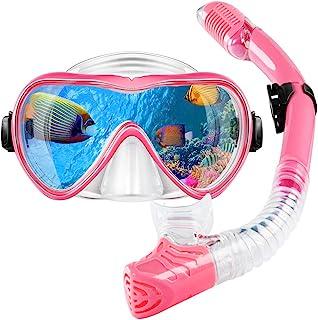 Gugusure 浮潜套装,干浮潜装备,防雾和防漏钢化玻璃,全景和方便*,适用于潜水和游泳,是青少年、成人、女性的理想浮潜面罩