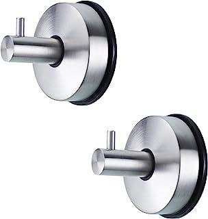 2 件装重型吸盘挂钩不锈钢真空杯架 Kithchen 浴室收纳架 杯钩 强力粘附 无钻孔 无钉(银色)