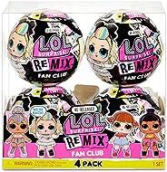 L.O.L. 惊喜!混音粉丝俱乐部 4 件装 – 4 个重新释放娃娃,每件 7 个惊喜