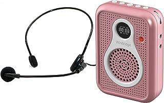 便携式语音放大器 带麦克风耳机 有线 1800mAh 可充电蓝牙 PA 扬声器系统 个人放大器 适用于教师、导游、教练、老人等