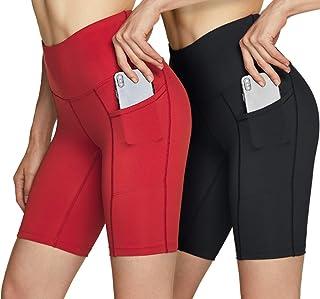 ATIKA 女式高腰自行车短裤,健身跑步瑜伽短裤,带口袋,运动弹力锻炼短裤,8 英寸(约 20.3 厘米) HW 侧插_2 件装 (ys282) - 黑色/红色,小号