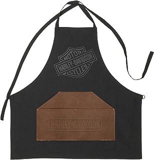 Harley-Davidson Bar & Shield 标志烧烤围裙,带人造革前袋