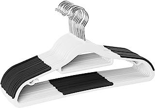 Finnhomy Bar Design 重型 50 件装塑料衣架,耐用衣架带防滑垫,非常适合衬衫、裤子、围巾,足够结实,适合外套,白色