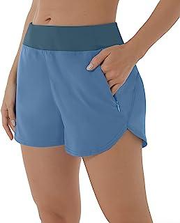 XIEERDUO 女式 2.5 英寸健身跑步短裤带网眼衬里拉链口袋健身速干